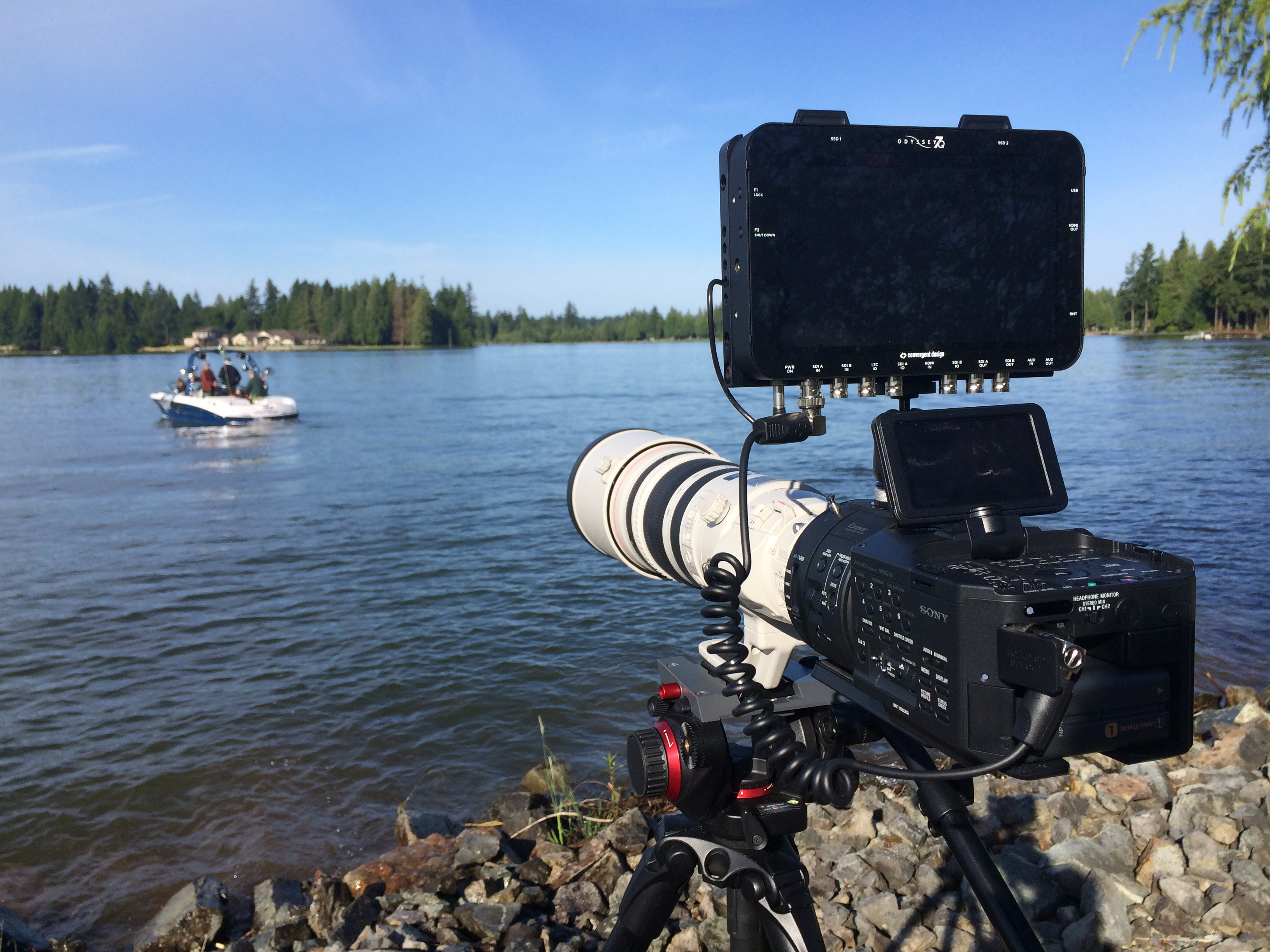 Wakeboarding with The Sony FS700 + Odyssey 7Q Setup